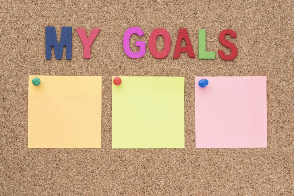 when setting goals, you should be as specific and positive as possible, use post it notes to keep your goals in visible place